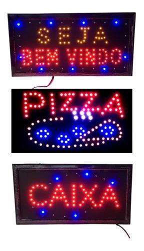 Imagem 1 de 1 de 3 Placas Luminoso Quadro Led Letreiros Luminária Decoração