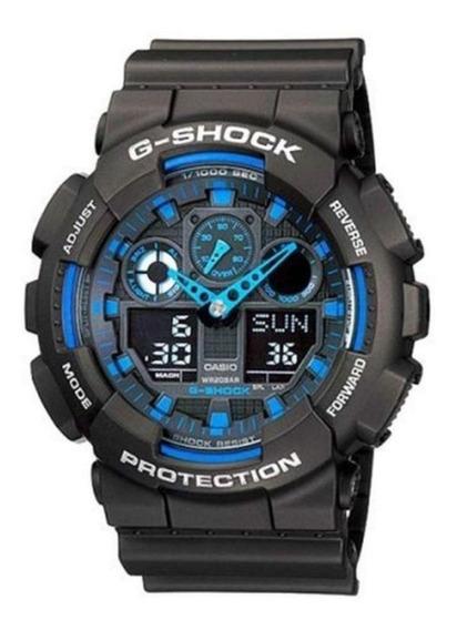 Relógio Casio G-shock Ga-100-1a2drPreto/azul