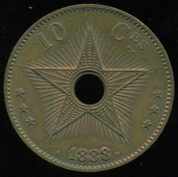 Estado Libre De Congo Moneda 10 Centimos 1888 S/c- Au Cond