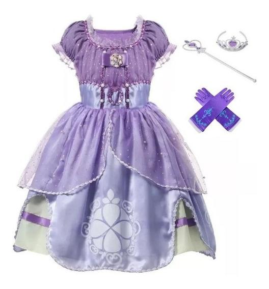 Vestido Princesa Sofia Infantil Luxo Completo