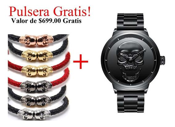 Reloj Calavera Black Skull Negro Steel Mexico Craneo Acero M
