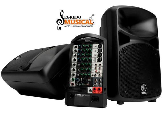Caixa Yamaha + Mesa De Som + Amplificador Stage Pass 400i