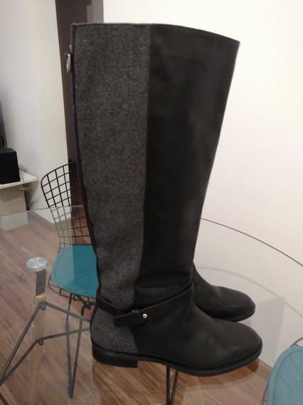 Botas Importadas De Cuero Negras Con Gris De Zara