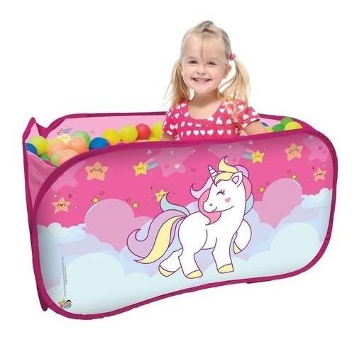 Piscina Infantil Com Bolinhas 2 Crianças Unicornio Menina