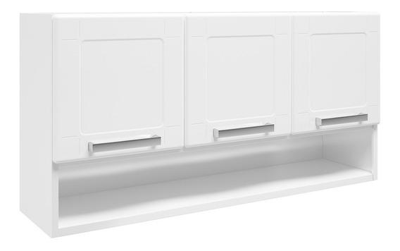 Armário Aéreo Cozinha Bertolini Aço 3 Portas Nicho Branco