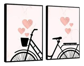 Quadro Decorativo Bicicleta Mosaico Feminino Retro Coração