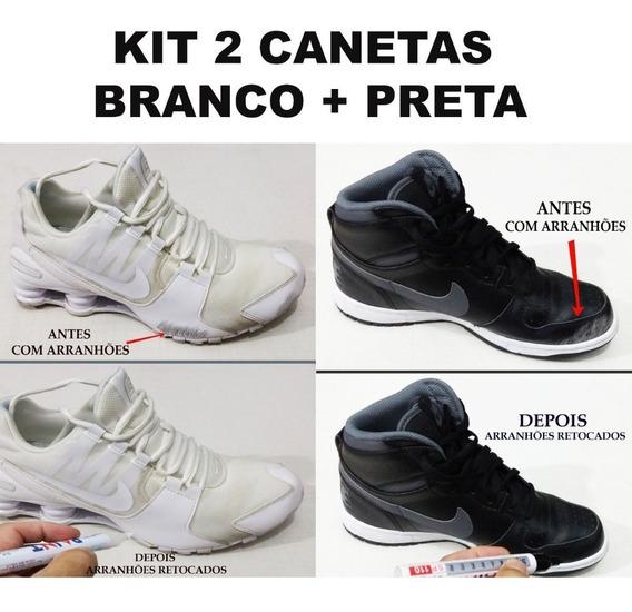 Caneta Branca+preta Kit Para Retoque Em Riscos Tênis-sapatos