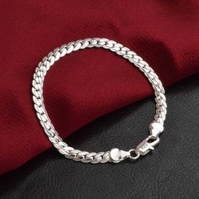Pulseira Masculina Bracelete Aço Inoxidável Pulseira Prata