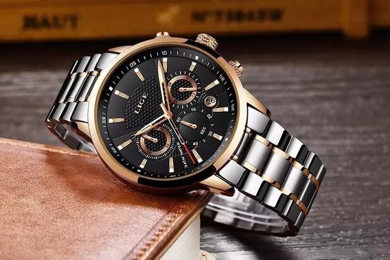 Relógio De Luxo Lige Prateado Com Dourado Black Friday