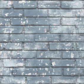 Comprar Papel De Parede Barato Tijolos Azul Importado 5685