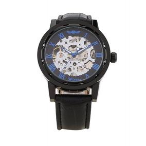 Relógio Masculino Analógico Esqueleto Cromado Preto Winner