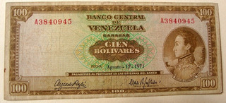 Billete De 100 Bs 1971 A7 Marrón