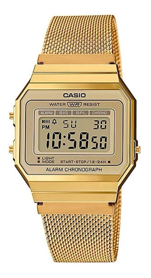 Relógio Unissex Casio Super Slim Vintage Dourado