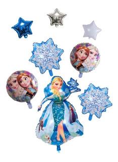 Globo Frozen + 2 Copos De Nieve + 2 Redondos + 3 Estrellitas