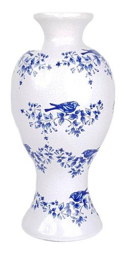 Vaso Branco E Azul | 16 Larg X 33 Alt X 16 Prof