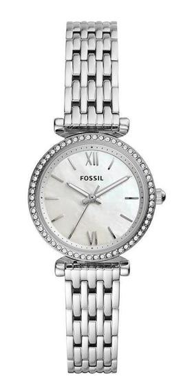 Relógio Feminino Fossil Carliemini Es4647/1kn 28mm Aço Prata