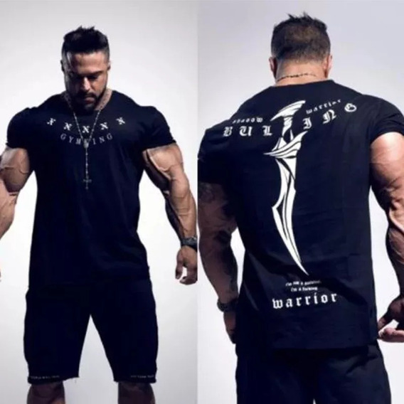 Playera Manga Corta Gym Bk Builking Brasil Bodybuilder