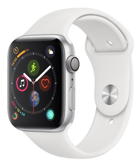 Apple Watch Series 4 Gps - 44mm - Caixa Prateada De Alumínio Com Pulseira Esportiva Branca