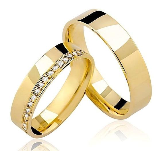 Par De Alianças 15g Com 40 De Diamantes - Frete Grátis
