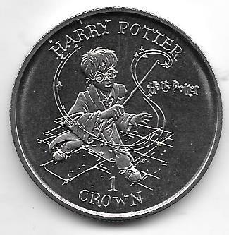 Moneda Isla De Man Crown Año 2001 Harry Potter Sin Circular