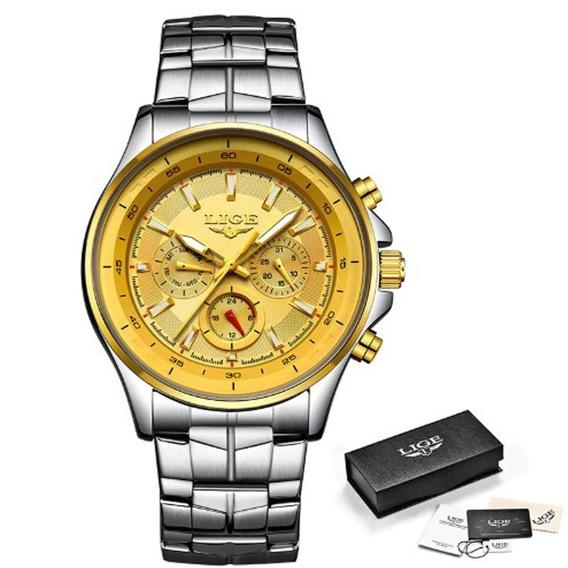 Relógio Masculino Lige 9814 Prata Quartzo Frete Grátis
