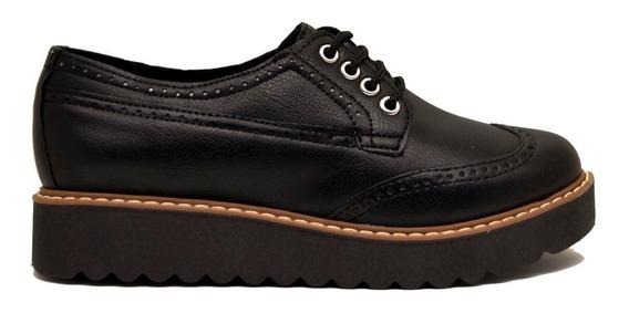 Zapatos Abotinado Acordonado Mujer Cuero Ecológico Negro