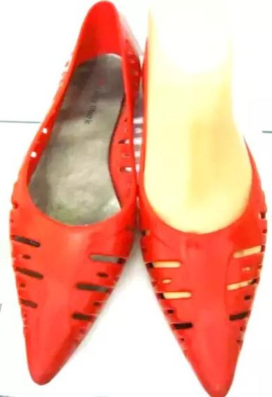 Lady Stork Zapatos Lluvia 37/38 Silicona Rojo (ana.mar)
