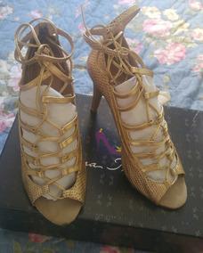 Sandalia Com Amarraçao Dourada