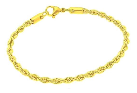 Pulseira Masculina Cordão Torcido 24cm E 2mm Folheado A Ouro