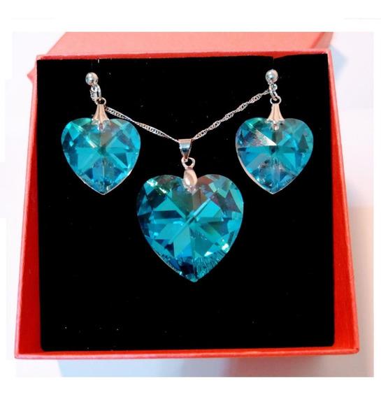 Namorados Colar E Brincos Coração Swarovski Blue Boreal