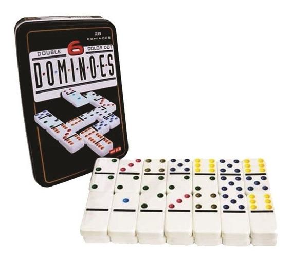 Jogo De Domino Profissional Osso Na Lata 28 Peças Coloridos.