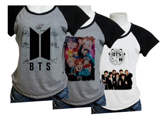 Kit Com 3 Camisa Babylook (ou Camiseta) Bts Escolha Opcoes Costas Grupo Kpop Blusa Babylook