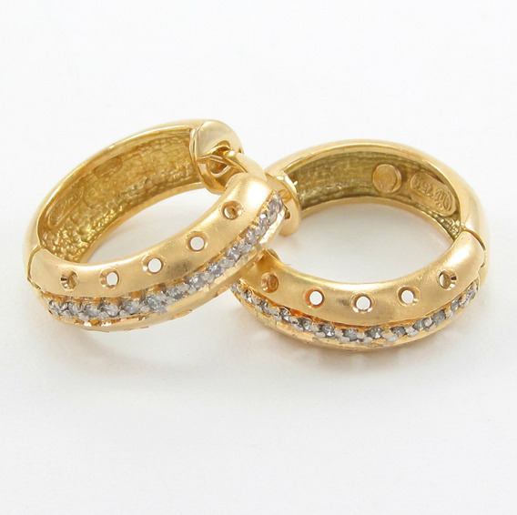 Esfinge Jóias - Brinco Argola Articulada Diamantes Ouro 18k.