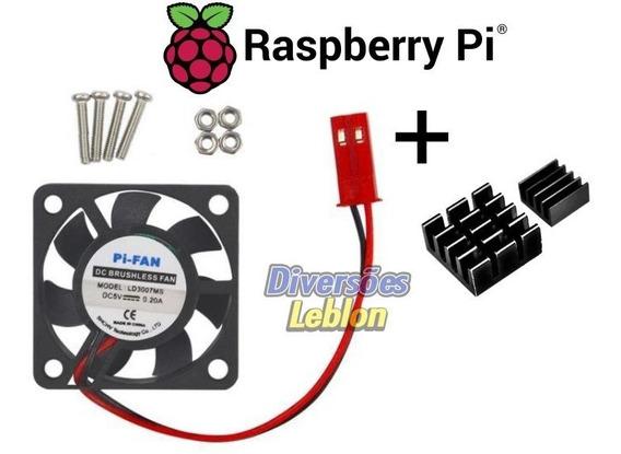 Cooler Fan 5v 3x3 + Dissipadores Calor Raspberry Pi Pi3 B