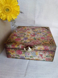Caja Para Té Estilo Vintage. Artesanal 100% ¡envío Incluído!