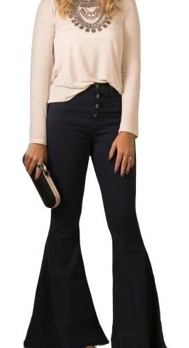 Calça Jeans Feminina Maxi Flare Com Botoes Aparentes