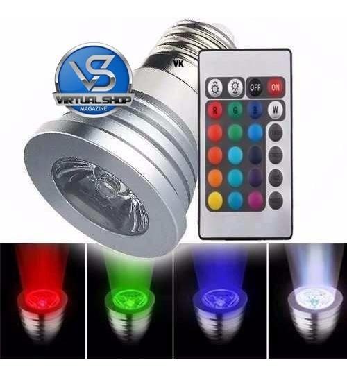 Lâmpada Led 3w 16 Cores Rgb + Controle 24 Funções E27 Spot