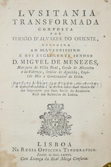 Livro Antigo Raro - Lvsitania Transformada - 1781