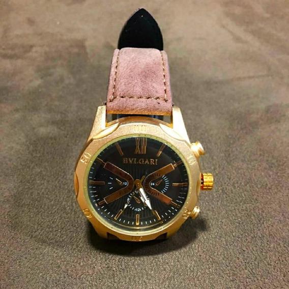 Relógio Bvlgari Dourado Com Pulseira Em Couro