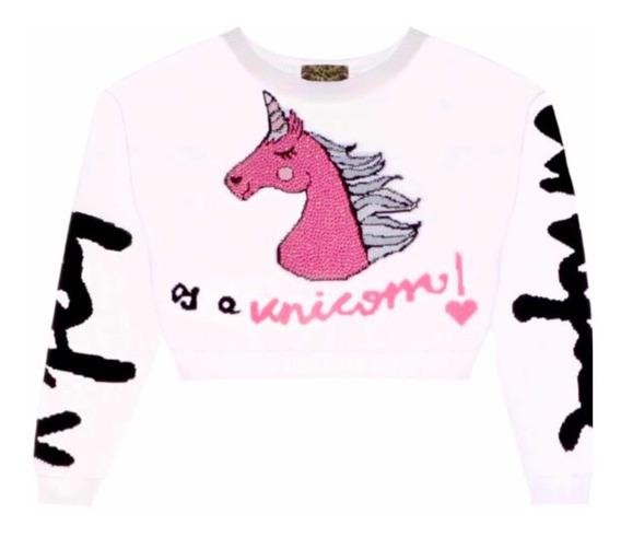 Blusa Cropped Tricot Unicornio