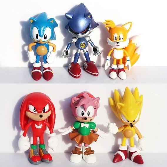 Coleção 6 Bonecos Sonic The Hedgehog Sonic Tails Metal Amy