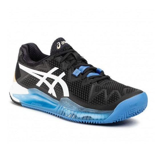 Tênis Asics Gel Resolution 8 Preto Azul Dourado Clay