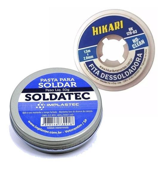 Kit Fita Dessoldadora Hk120 Hikari + Pasta Soldar Implastec