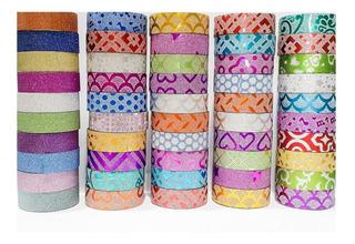 Cinta Adhesiva Decorativa, Washi Tape, Estampados Variados