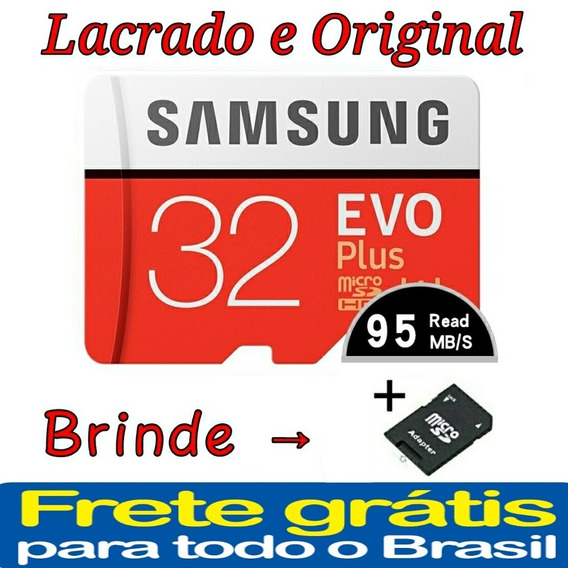 Cartão Micro Sd 32gb Samsung Evo Plus Classe 10 Alta Velocid