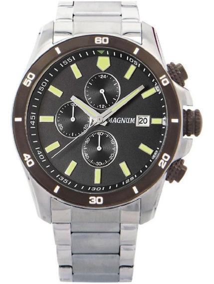 Relógio Masculino Magnum Prata 2 Anos Garantia Ma34647t Nfe