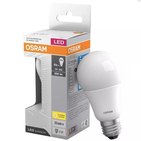 Kit 100 Lampada Led Bulbo A60 6w 600 Lumens Amarela Osram