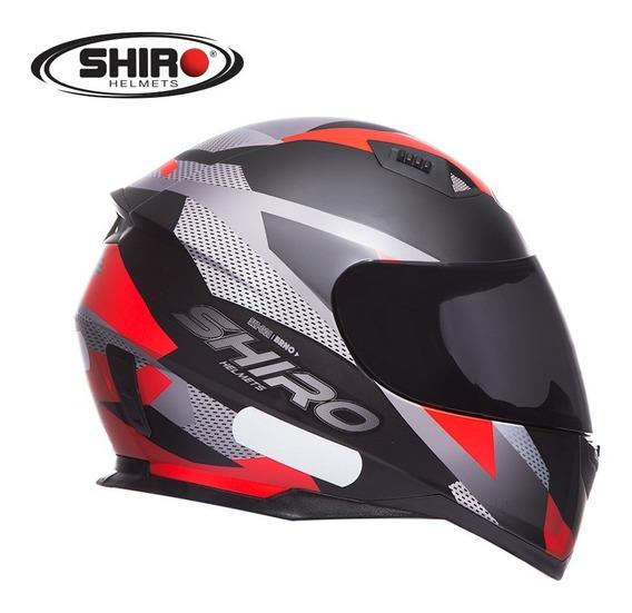 Capacete Shiro Sh 881 - Brno - Preto Fosco/vermelho