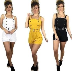Macaquinho Curto Botões E Cinto Com Bojo Moda Top 2019