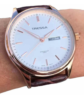 Reloj Tressa Barry Malla Cuero Con Calendario Casa Tagger